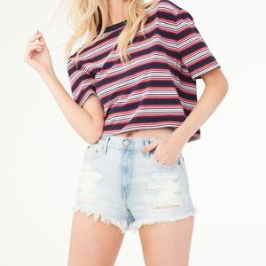 Aeropostale High-Rise Destroyed Cheeky Shorts - 10